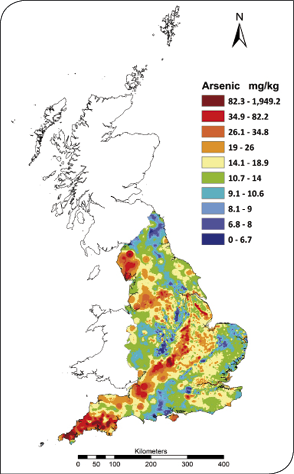 Figure 8 Interpolated map showing soil arsenic concentrations in England