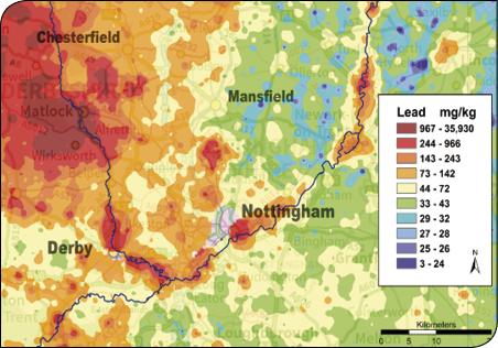 Figure 5 - Lead in topsoils of the Trent Valley, GB